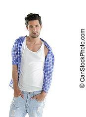 Fashion casual denim handsome man portrait