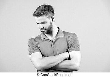 Fashion, casual wear, style, trend - handsome man. Fashion...