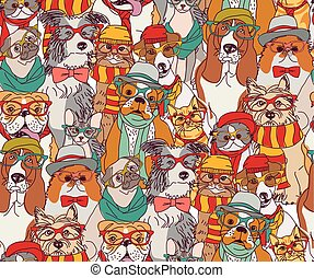 Fashion cats and dogs in glasses color seamless pattern.