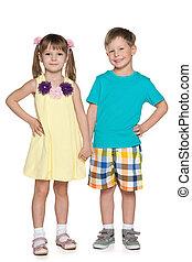 Fashion cheerful little kids