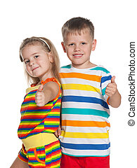 Fashion children in striped shirts