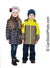 Fashion children in the winter jackets