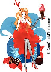 Fashion Christmas illustration. Women silhouettes in red dress isolated