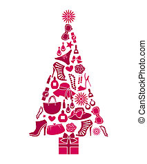 Illustration of a Christmas tree made from various female fashion items.