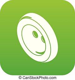 Fashion clothes button icon green vector