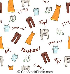 Fashion clothes doodle seamless background