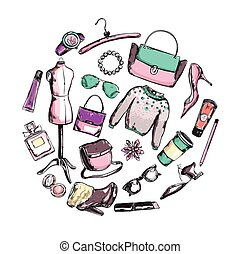 Fashion Clothes Round Composition - Round composition with...