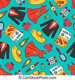 Fashion clothes seamless pattern background
