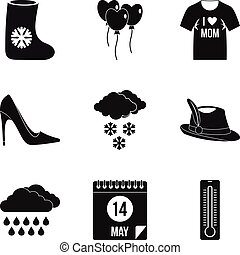 Fashion clothing icon set, simple style