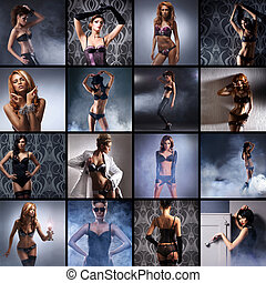 Fashion collage made of many shoots of young attractive...