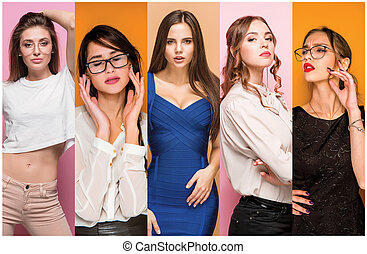 Fashion collage of images of beautiful young women. Sensual girls