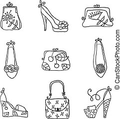 Fashion collection ladies bags and shoes. Hand drawn vector...