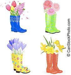 fashion collection of rubber boots with bouquets of lovely...