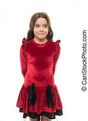 Fashion concept. Kid adorable smiling posing in red velvet...