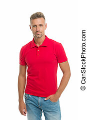 Fashion concept. Man model clothes shop. Menswear and fashionable clothing. Man calm face posing confidently white background. Man looks handsome in casual shirt. Guy with bristle wear casual outfit