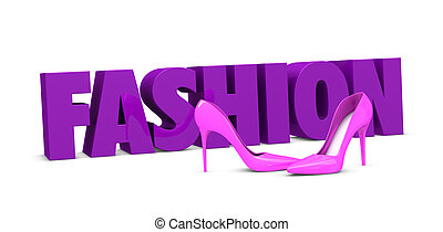 fashion concept - one pair of high heels shoes with the word...