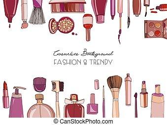 Fashion cosmetics horizontal background with make up artist...