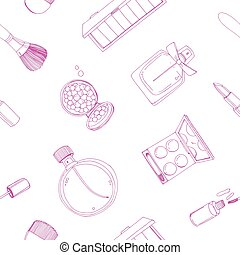 Fashion cosmetics seamless pattern with make up artist objects. Colorful vector hand drawn illustration.