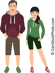 Fashion couple in fitness outfit - Fashion couple in fitness...