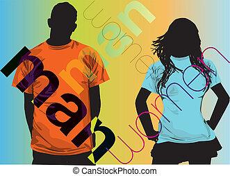 Fashion Couple. Vector illustration