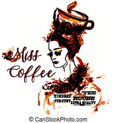 Fashion creative vector background with girl portrait drawn by coffee spots. Coffee house design label.eps