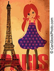fashion cute girl in paris