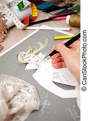 Fashion Design - close up of hand drawing fashion