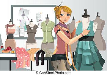 A vector illustration of a fashion designer at work