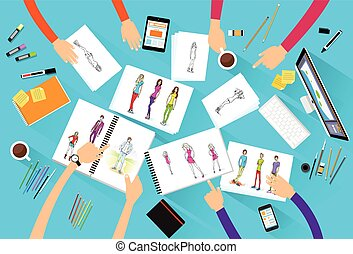 fashion designer creative team looking models photograph ...