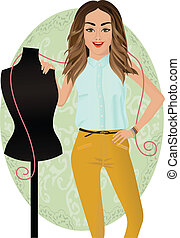 illustration of a smiling fashion-designer with a mannequin