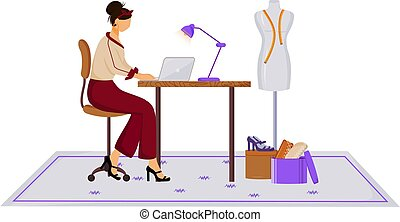 Fashion designer in atelier flat color vector illustration. Creating modern clothing with laptop. Creative job. Designing new collection in studio isolated cartoon character on white background