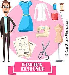 Fashion designer profession vector accessories