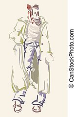 Fashion designer sketch. Model on the podium - vector illustration