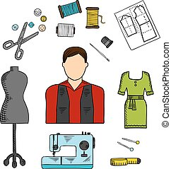 Fashion designer with sewing tools colored sketch