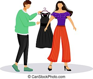 Fashion designer work flat color vector illustration. Dressing up famous people. Choosing outfit for catwalk. Preparing model for runway isolated cartoon character on white background