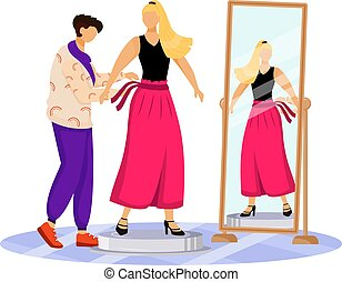 Fashion designer work flat color vector illustration. Dressing up famous people. Trying on new outfit for catwalk. Preparing model for runway isolated cartoon character on white background