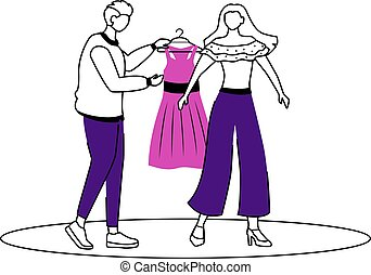 Fashion designer work flat contour vector illustration. Dressing up famous people. Choosing outfit. Preparing model for runway isolated cartoon outline character on white background. Simple drawing