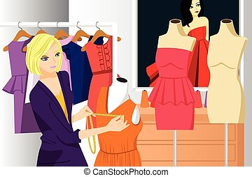 A vector illustration of beautiful fashion designer working in her studio