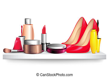 Fashion Display - illustration of cosmetic and shoe ...