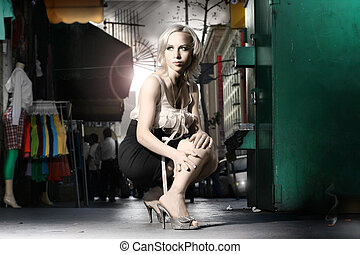 Fashion - Dramatic stylized fashion portrait of female model...