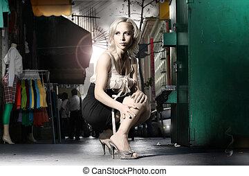 Fashion - Dramatic stylized fashion portrait of female model...