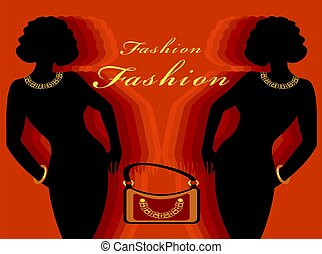Fashion - Silhouette and a reflection of women with model...