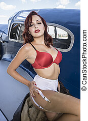 Fashion, dressed in vintage pinup, Spanish civil war, red-haired woman