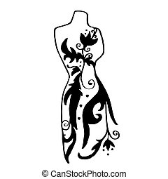 Fashion. Dummy with floral ornament