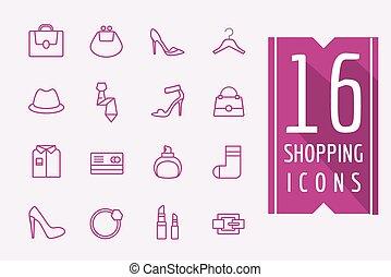 Fashion e-commerce vector icons set. Shopping symbols. Interface elements Stock illustration.