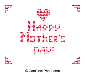 Fashion embroidery print with heart shapes and Happy Mothers Day lettering on the white background