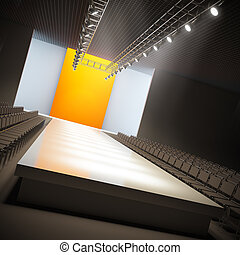 A 3D illustration of fashion empty runway.