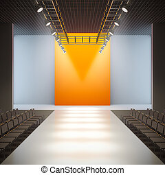 Fashion empty runway. - A 3D illustration of fashion empty...