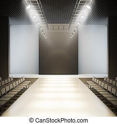 Fashion empty runway. - Empty runway. A 3D illustration...