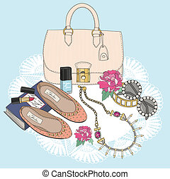 Fashion essentials. Background with bag, sunglasses, shoes, jewelery, perfume, makeup and flowers.